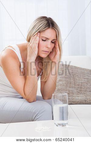 Portrait Of Woman With Migraine