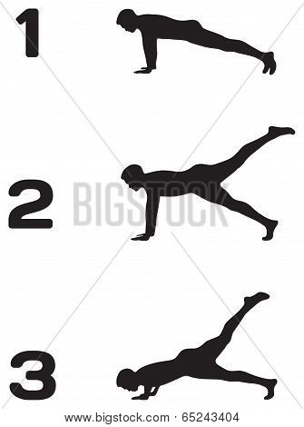 Man Doing Push Ups In Three Steps Black Silhouettes On White Background, Fitness