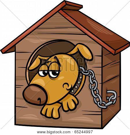 Cartoon Illustration of Poor Sad Dog in the Kennel poster