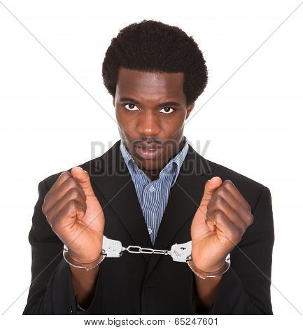 Arrested Man With Handcuffed Hands