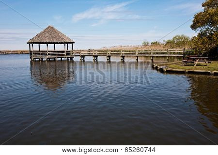 The gazebo over the water is a popular attraction at Heritage park in historic Corolla, North Carolina