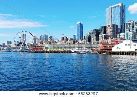 Downtown View From Ferry. Seattle, Wa