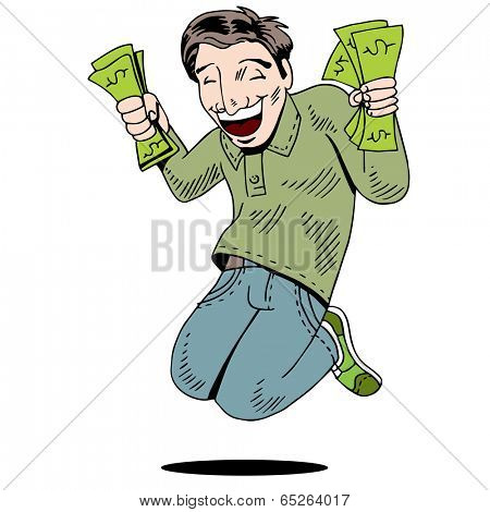 An image of man with fists of cash.