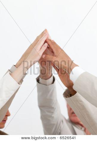 Business People Showing Teamwork Spirit