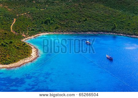 Helicopter aerial shoot of tip of the Peljesac peninsula - Dubrovnik archipelago, Croatia poster