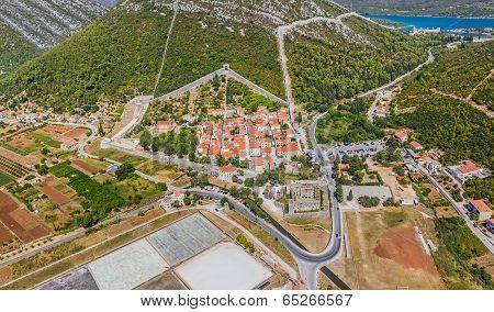 Ston aerial with city walls, Croatia