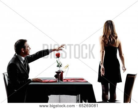 couples lovers dinning dispute separation in silhouettes on white background poster