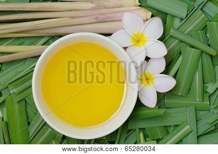 Citronella Grass And Oil On Citronella Grass Leave Background