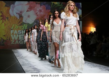 ZAGREB, CROATIA - MAY 09: Fashion model wearing clothes designed by Monika Sablic on the Zagreb Fashion Week on May 09, 2014 in Zagreb, Croatia.