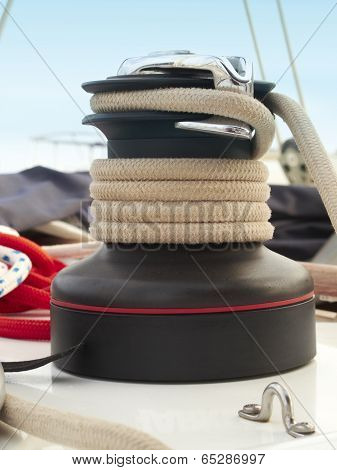 Rope Detail On A Sailing Yatchwith Blue Sky