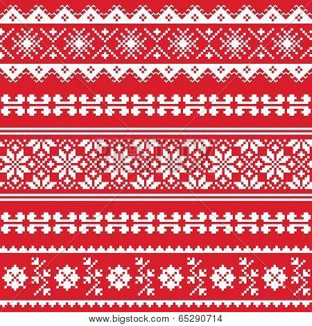 Ukrainian folk emboidery white pattern on red background