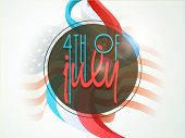 Stylish text 4th of July on a sticky. American Independence Day celebration concept. poster