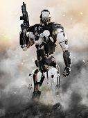 Robot Futuristic Police armored mech weapon with action background poster