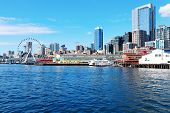 Seattle waterfront Pier 55 and 54. Downtown view from ferry. poster