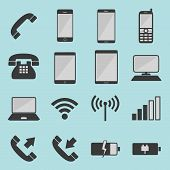 A series of icons for telecommunication use poster