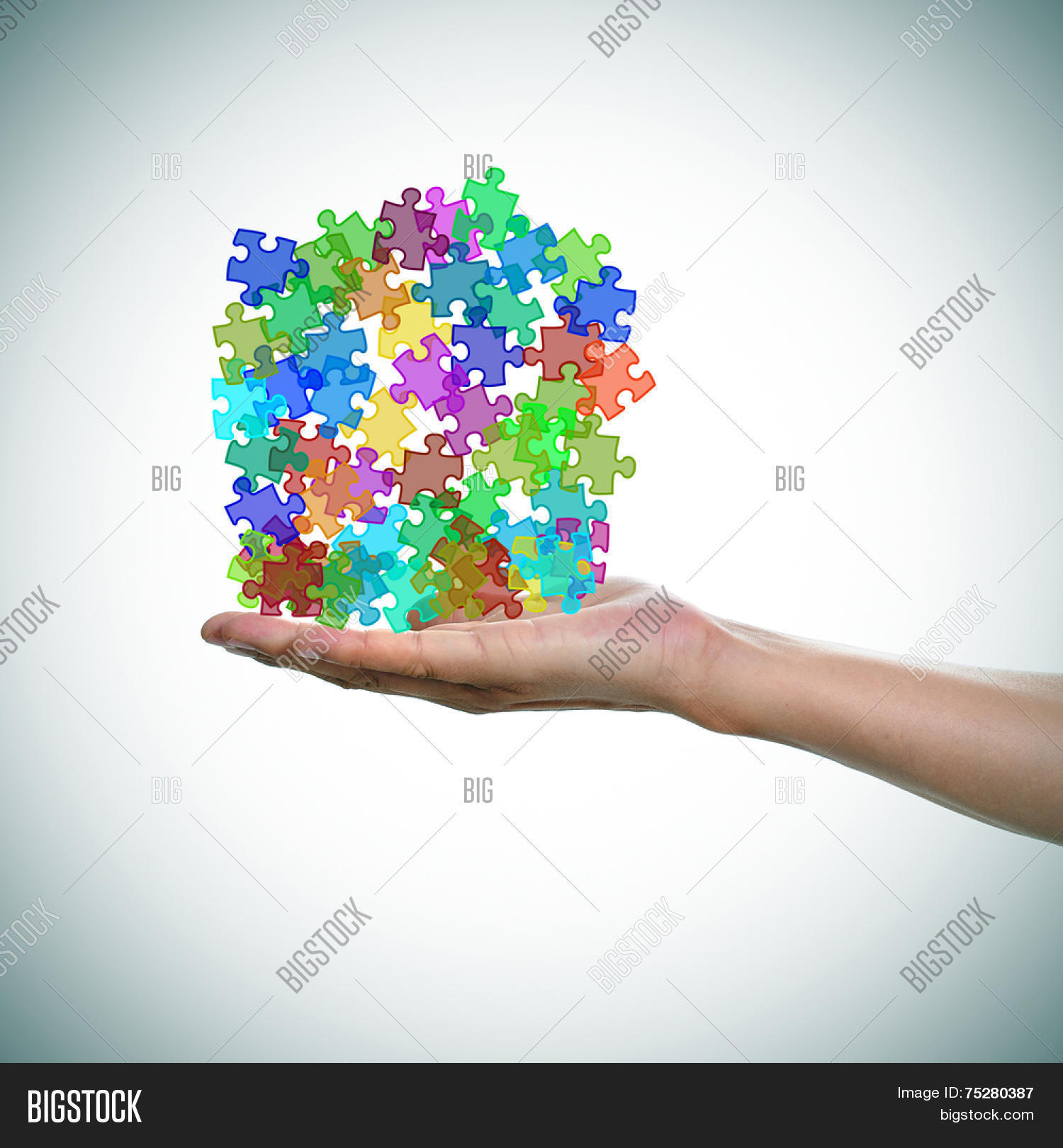 Man Hand Pile Puzzle Image Photo Free Trial Bigstock