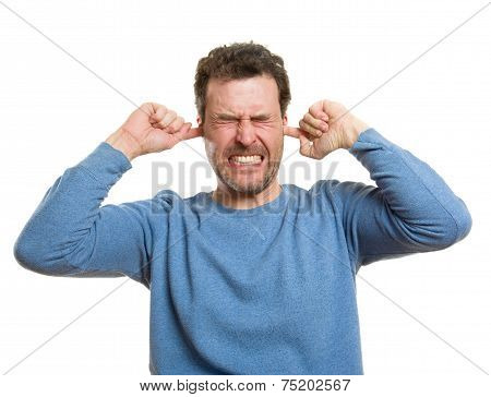 Caucasian Casual Man, Protecting Ears From Loud Noises
