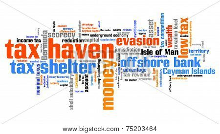 Tax haven - finance issues and concepts tag cloud illustration. Word cloud collage concept. poster