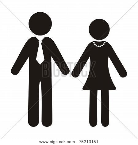 Black vector gentleman and lady silhouette icons isolated poster