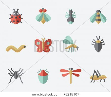 Insect icons, flat design set, light background