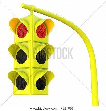 Yellow Traffic Light On Red