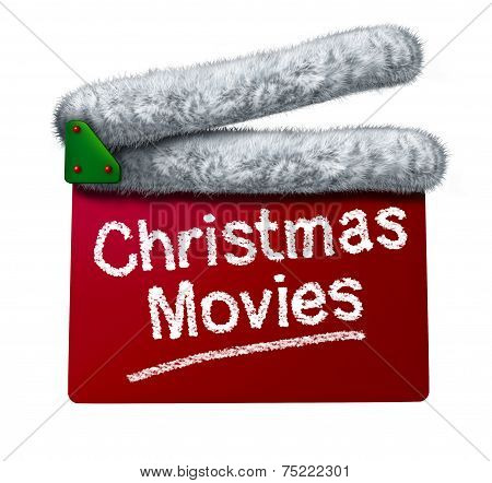 Christmas movies and holiday classic cinema and TV flicks with a red clapperboard and a Santa Clause hat white fur trim as an entertainment symbol of the winter film industry cinematic releases on a white background. poster