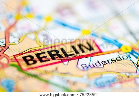 Close-up on Berlin city on map travel destination concept poster