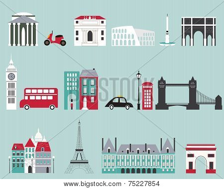 Symbols Of Famous Cities.