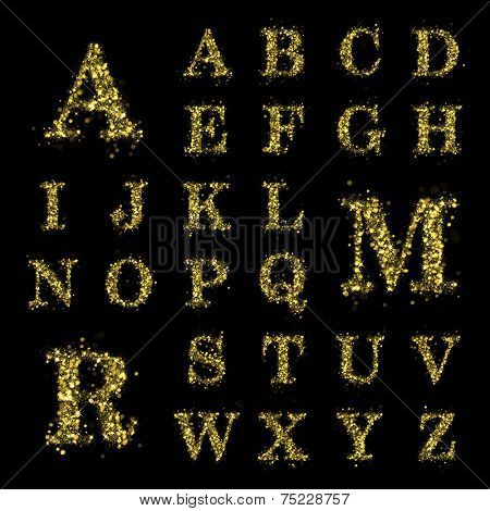 Sparkling font on black background. Alphabet of golden glittering stars (glittering font concept). Christmas holiday illustration of bokeh shining stars character..