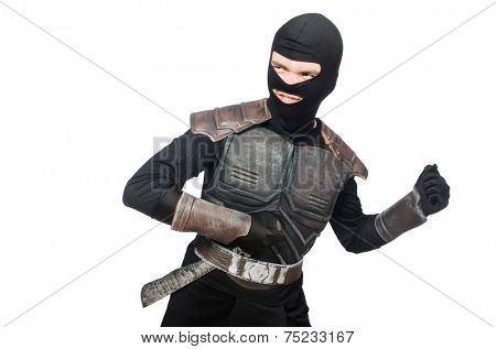 Ninja with knife isolated on white