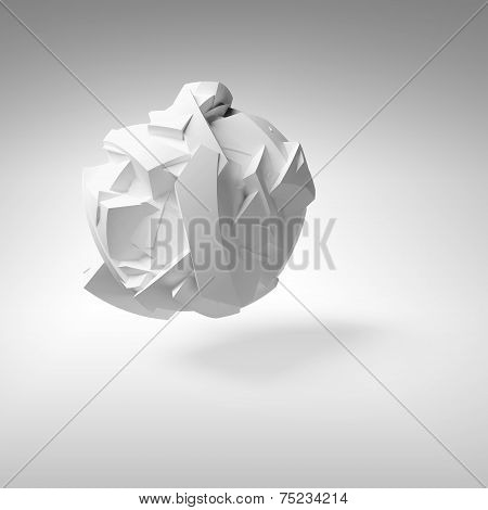 Abstract 3d object white big flying chaotic fragmented shape with soft shadow poster