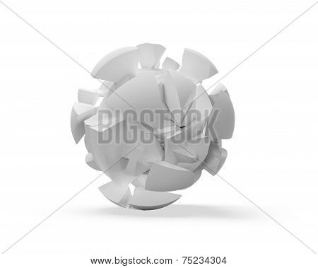 Abstract 3d spherical object cloud of fragments isolated on white poster