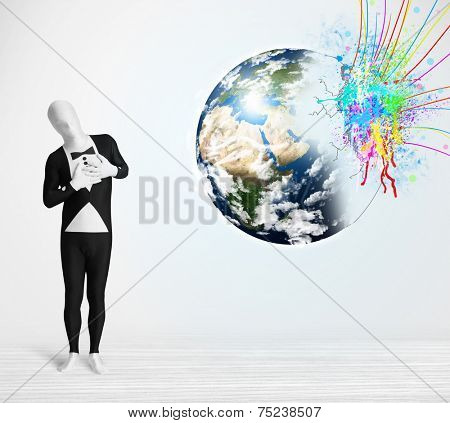 poster of Funny man in body suit looking at colorful splatter 3d earth, Elements of this image furnished by NASA