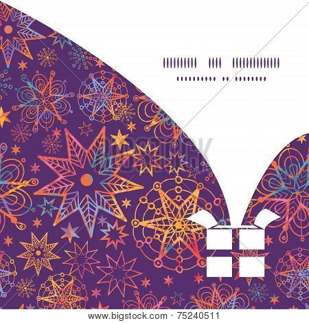 Vector textured christmas stars Christmas gift box silhouette pattern frame card template