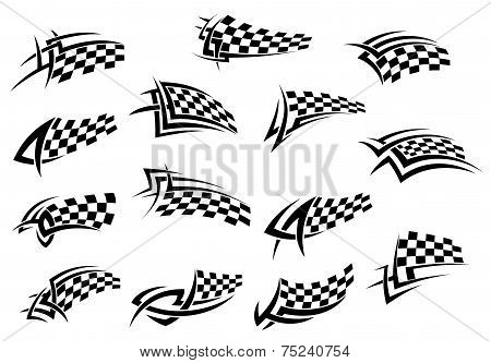 Racing sport checkered flag icons