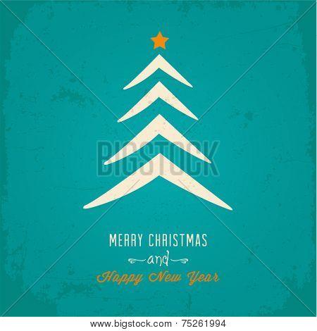 Christmas tree Christmas card. Vector