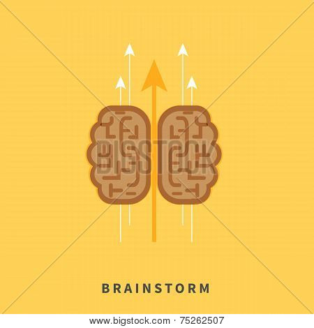 Brainstorm headwork concept with education icons in flat design poster