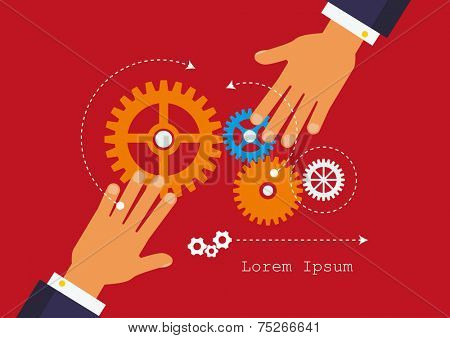 People hands hold gears. Business start up concept.