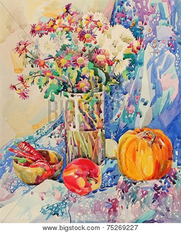 original watercolor still life with flowers