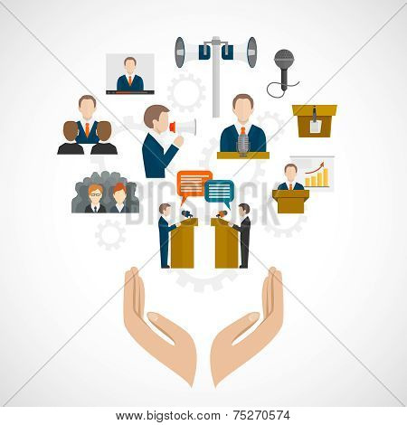 Public speaking concept with hands and presentation conference debate oratory icons vector illustration poster