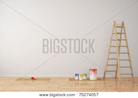 Wall with paint cans and ladder during room renovation (3D Rendering)