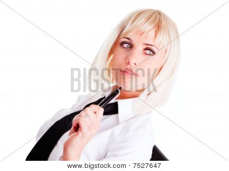 Blond Businesswoman Holding Pen Isolated Over White