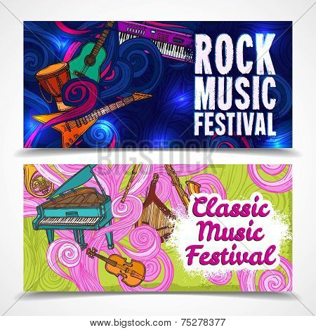 Classic and rock music festival horizontal banners set with piano guitar saxophone isolated vector illustration poster