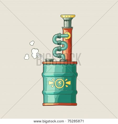 Original illustration of a steampunk styled boiler