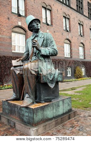 Monument to Hans Christian Andersen against Town Hall building in Copenhagen, Denmark. The monument was erected in 1954-61