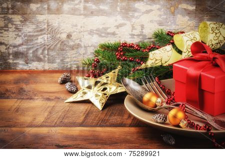 Christmas Table Setting With Gift