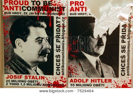 Portraits Of Stalin And Hitler