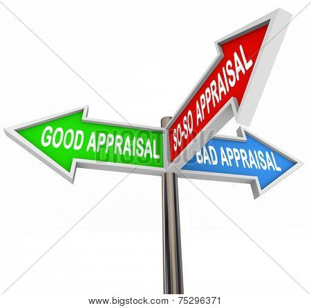 Good, bad and so-so appraisal words on signs to illustrate your level, rating or score in assessment or evalation for home, vehicle or work performance