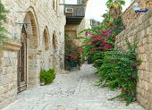 Typical view of Jaffa's narrow old city's alley poster