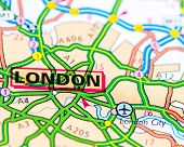 Close-up on London city on map travel destination concept poster